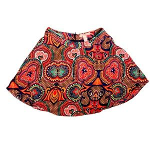 Forever21 Small Red Geometric Pattern Flared Skirt